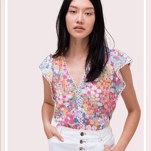 Kate Spade Floral Burnout Flutter Sleeve Top ♠️